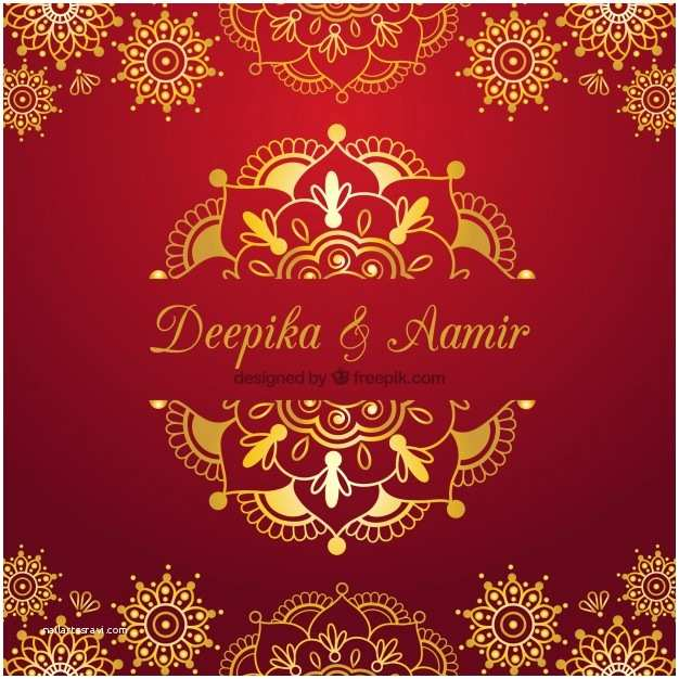 Indian Wedding Invitation Designs Free Download Indian Wedding Card On A Red Background Vector