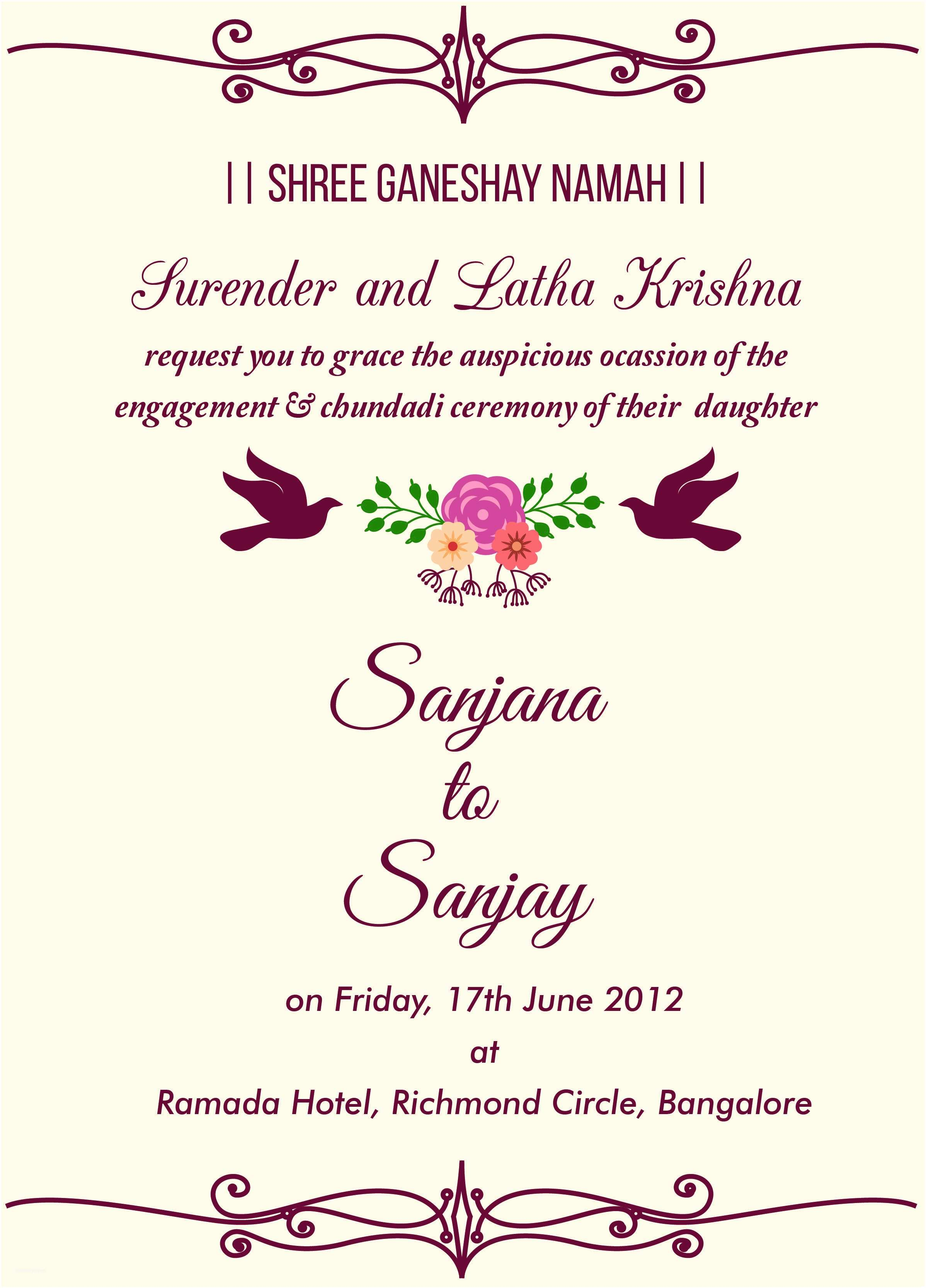 Indian Wedding Invitation Quotes Free Engagement Invitation Wordings Check It Out