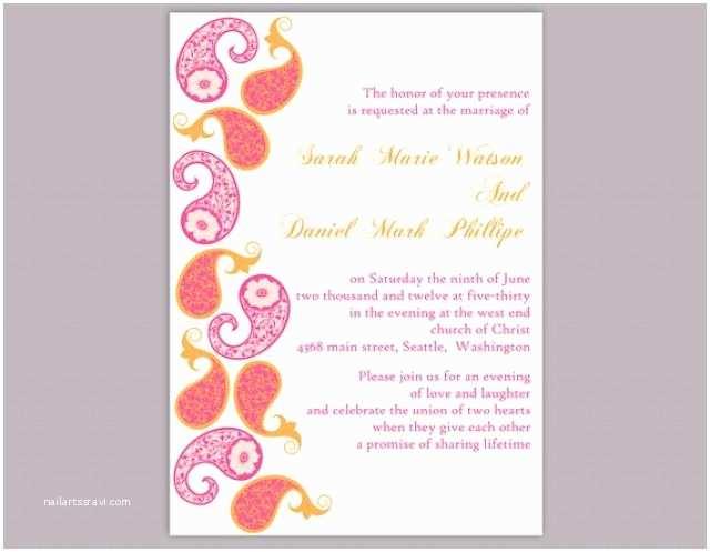 Indian Wedding Invitation Templates Diy Bollywood Wedding Invitation Template Editable Word