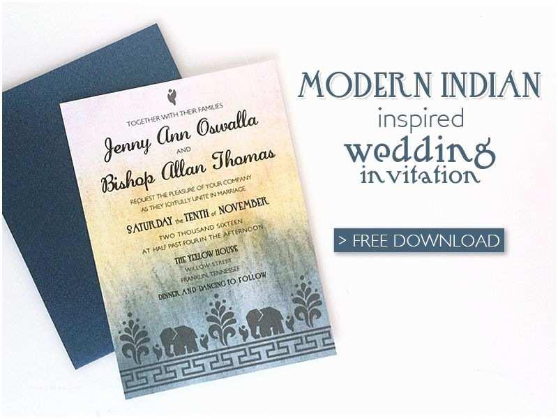 Indian Wedding Invitation Templates Free Modern Indian Wedding Invitation Printable Template