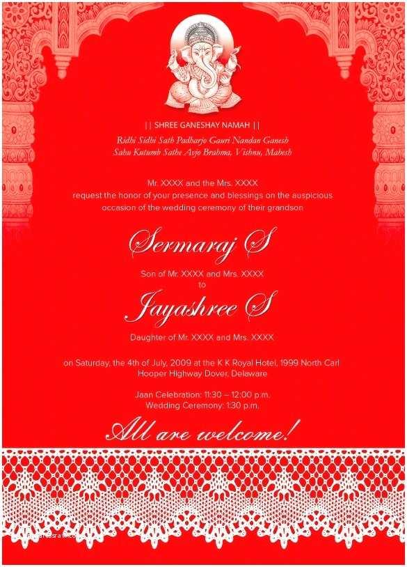 Indian Wedding Invitation Templates Hindu Wedding Invitation Card Template