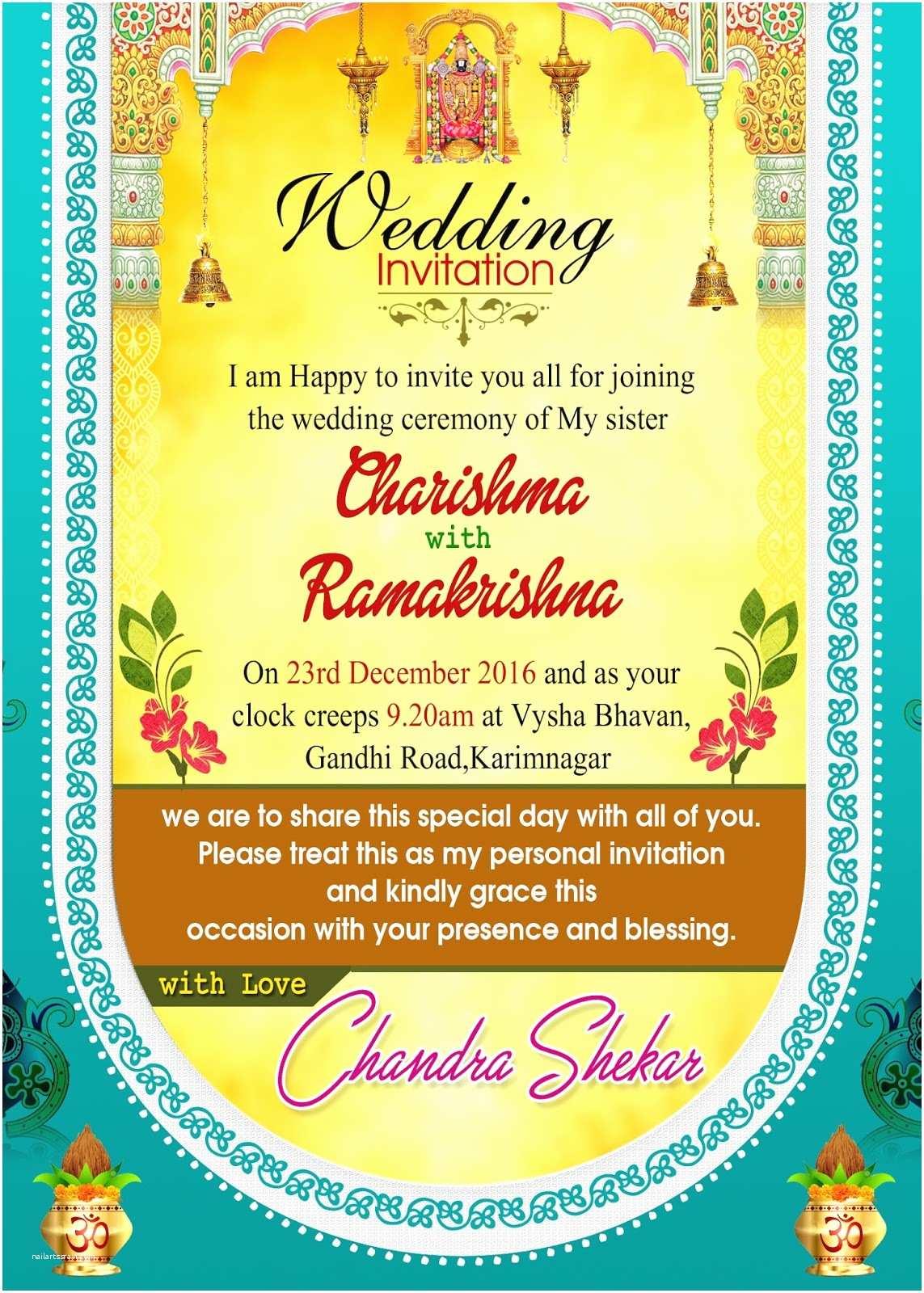 Indian Wedding Invitation Templates Indian Wedding Invitation Wordings Psd Template Free for