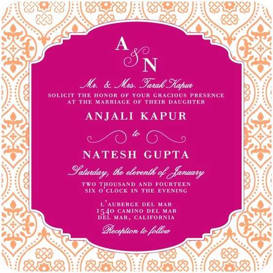 Indian Wedding Invitation Templates Wedding Invitation Wording Etiquette Indian Wedding