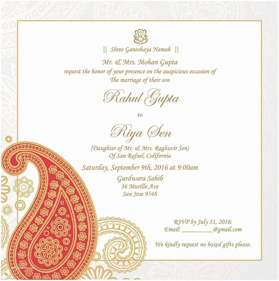 Indian Wedding Invitation Templates Wedding Invitation Wording for Hindu Wedding Ceremony