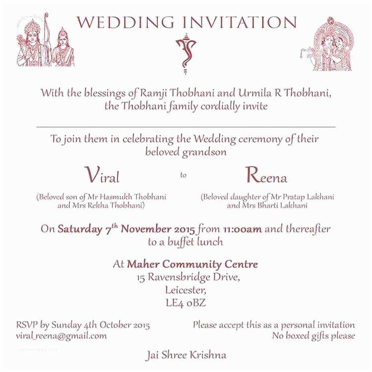 Indian Wedding Invitation Wording Hindu Wedding Invitation Wordings and Templates by Card Fusion