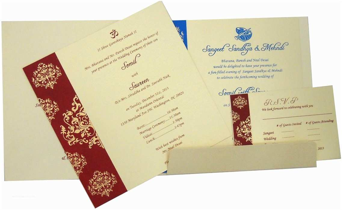 Indian Wedding Invitations Online Card Design Ideas Foldable Design White Blue Red Color