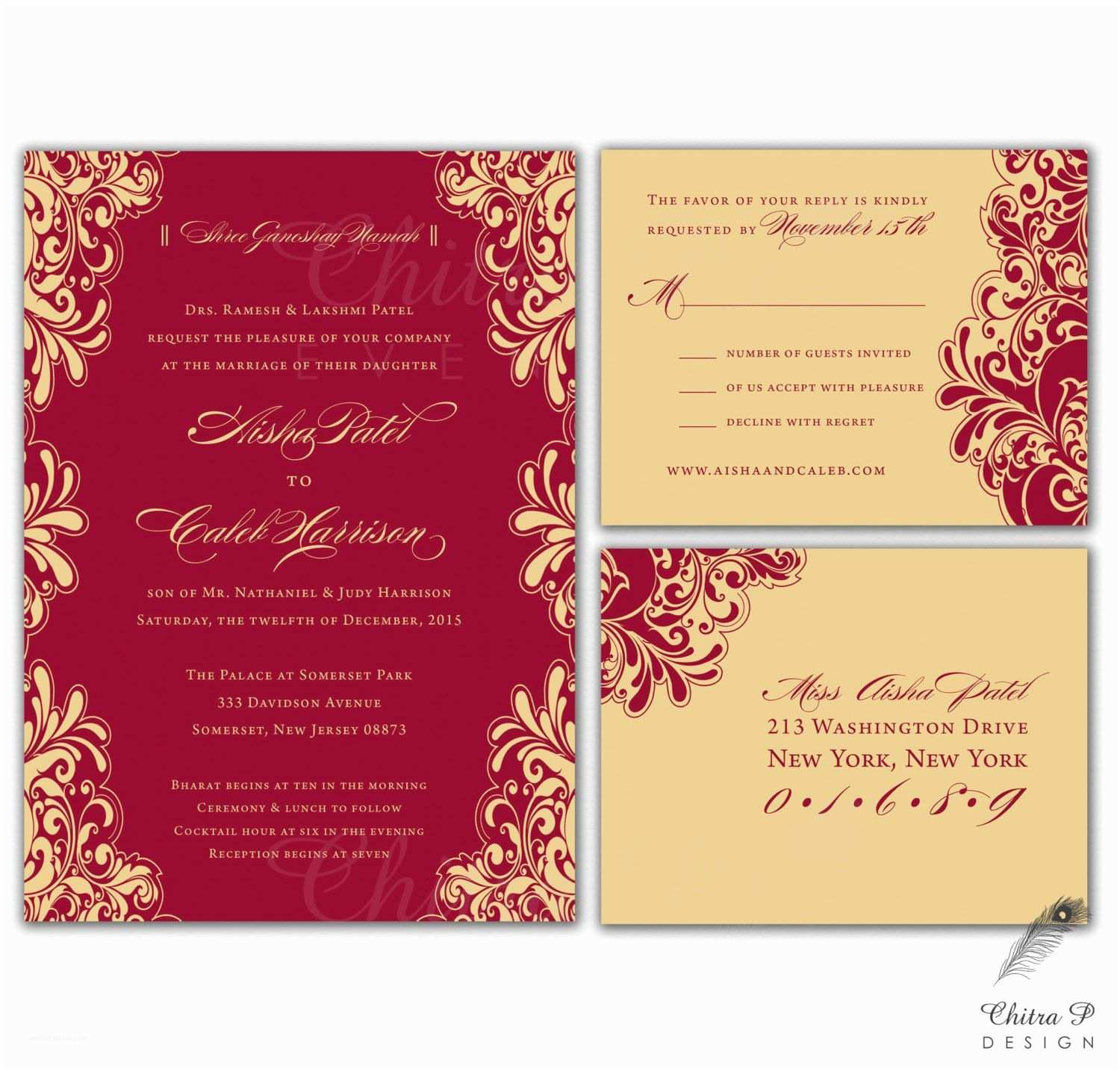 Indian Wedding Invitations Red & Gold Wedding Invitations Rsvp Printed Indian от