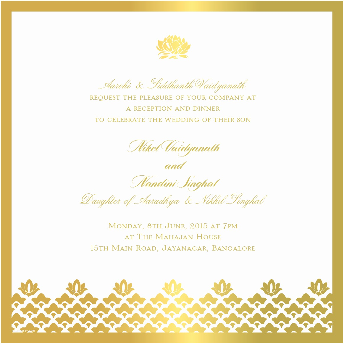Indian Wedding Reception Invitation Templates Elegant Gold Border and Motifs On Indian Reception