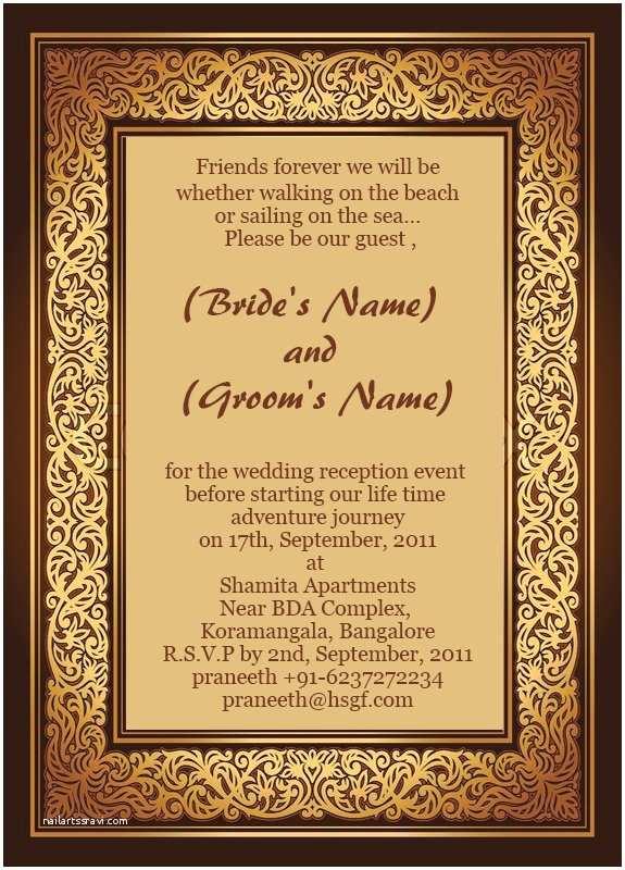 Indian Wedding Reception Invitation Templates Marriage