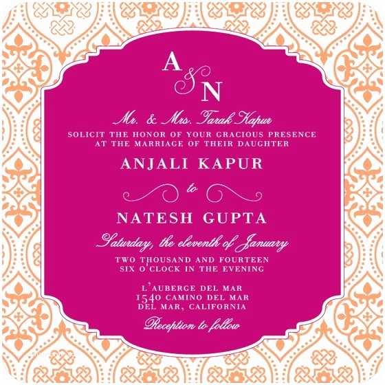 Indian Wedding Reception Invitation Templates Wedding Invitation Wording Etiquette Indian Wedding