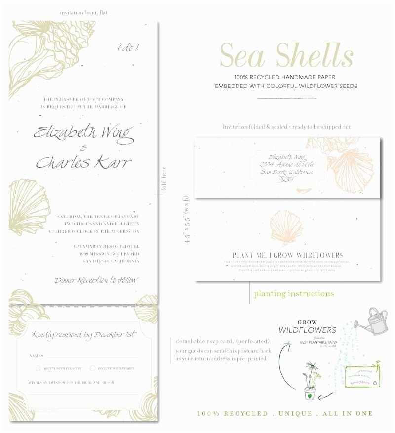 Inexpensive Plantable Wedding Invitations Beach Wedding Invitations On Plantable Paper Sea Shell