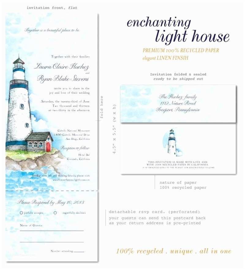 Inexpensive Plantable Wedding Invitations Lighthouse Wedding Invitations On Recycled Paper