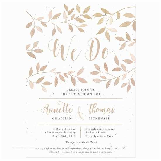 Inexpensive Plantable Wedding Invitations Lovely Leaves Plantable Wedding Invitation