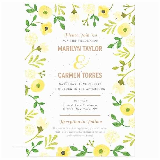 Inexpensive Plantable Wedding Invitations Painterly Florals Plantable Wedding Invitation
