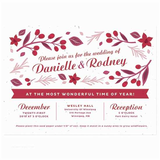 Inexpensive Plantable Wedding Invitations Plantable Christmas Wedding Invitation