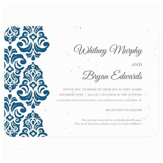 Inexpensive Plantable Wedding Invitations Plantable Classic Damask Wedding Invitation