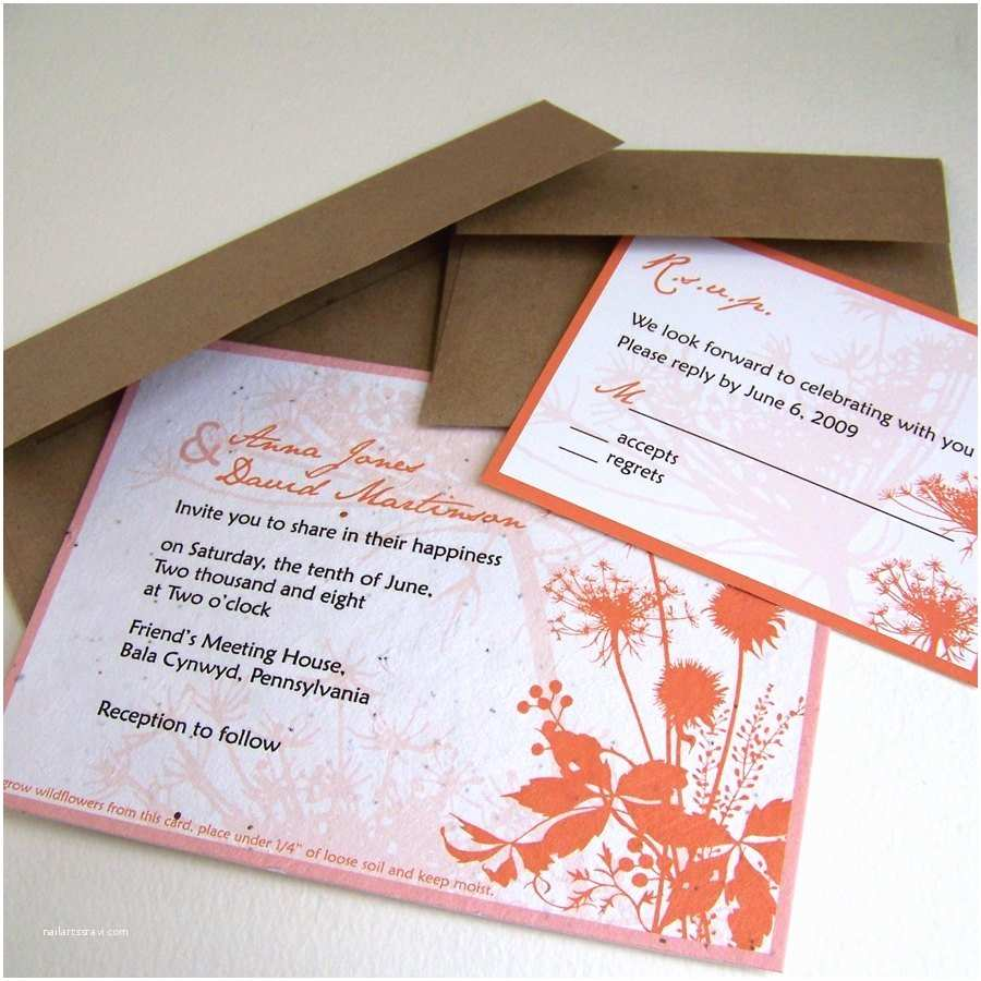 Inexpensive Plantable Wedding Invitations Rustic Summer Wedding Invitation with Meadow Flowers