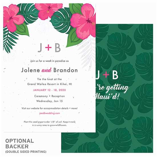 Inexpensive Plantable Wedding Invitations Tropical Blooms Plantable Wedding Invitation