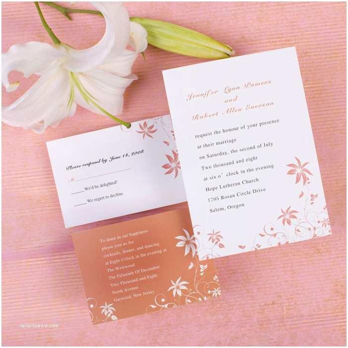 Inexpensive Wedding Invitations Custom Simple Peach Rustic Country Inexpensive Wedding