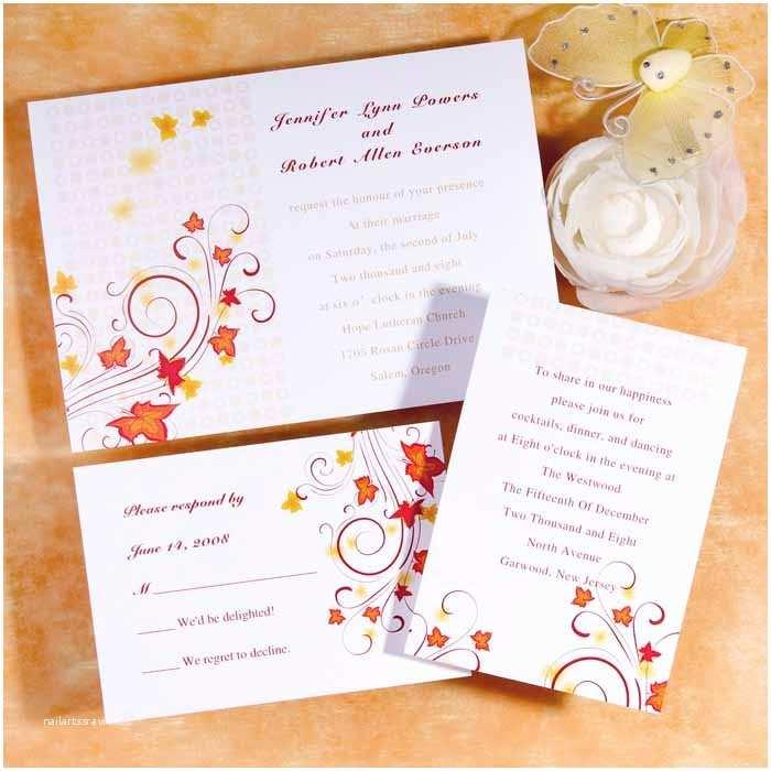 Inexpensive Wedding Invitations Maple Leaves Burst Flat Wedding Invitation Uki085 [uki085