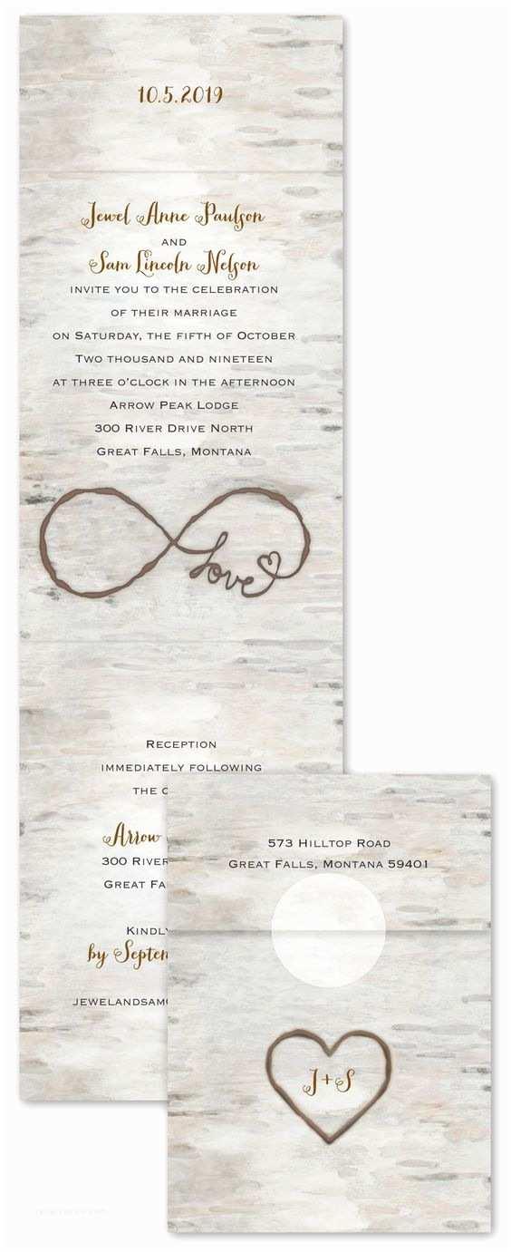 Infinity Symbol Wedding Invitations Birch Beauty Invitation with Line Reply