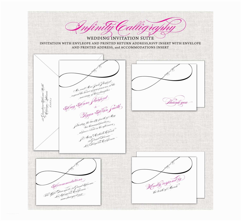 Infinity Symbol Wedding Invitations Infinity Wedding Invitations Calligraphy Invites Magenta