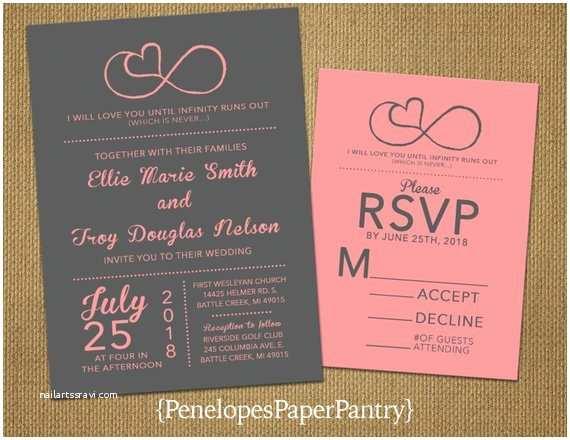 Infinity Symbol Wedding Invitations Items Similar to Gray and Coral Infinity Love Symbol