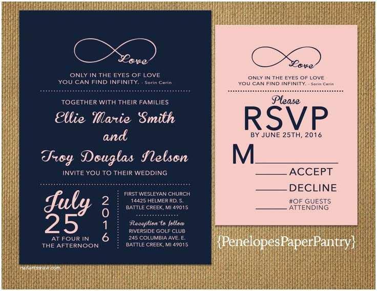 Infinity Symbol Wedding Invitations Navy and Blush Wedding Invitation Infinity Love Symbol