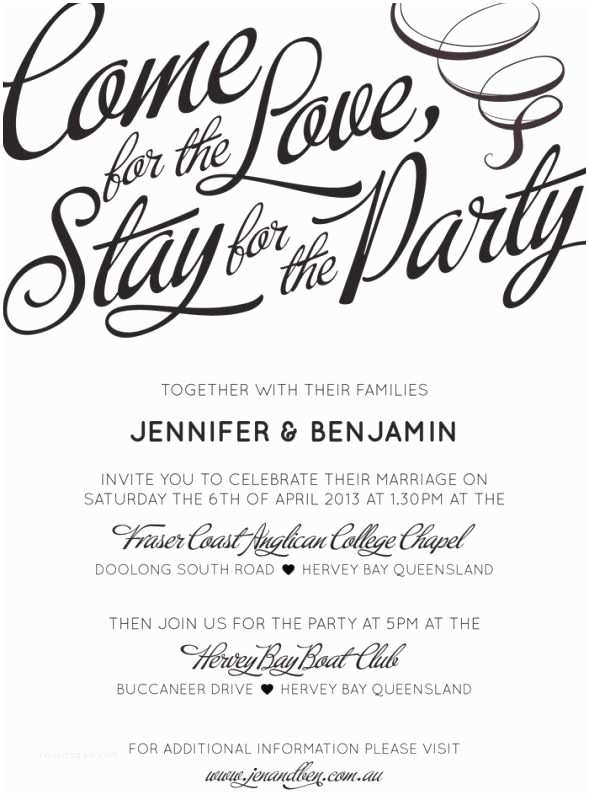 """Informal Wedding Invitation Wording """" E for the Love Stay for the Party"""" Love that"""