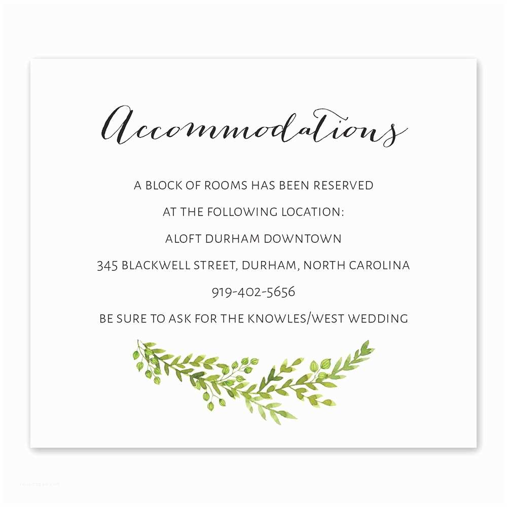 Information to Include On Wedding Invitation Watercolor Greenery Information Card
