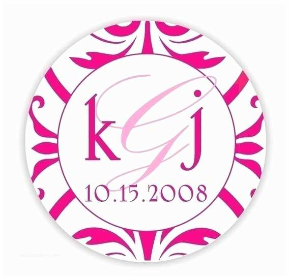 Initial Stickers for Wedding Invitations Circle Custom Wedding Monogram Hot Pink Personalized Save