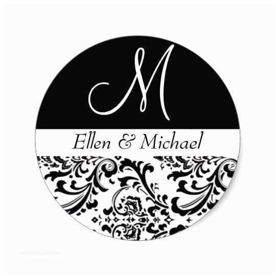damask wedding monogram black and white invitation classic round sticker