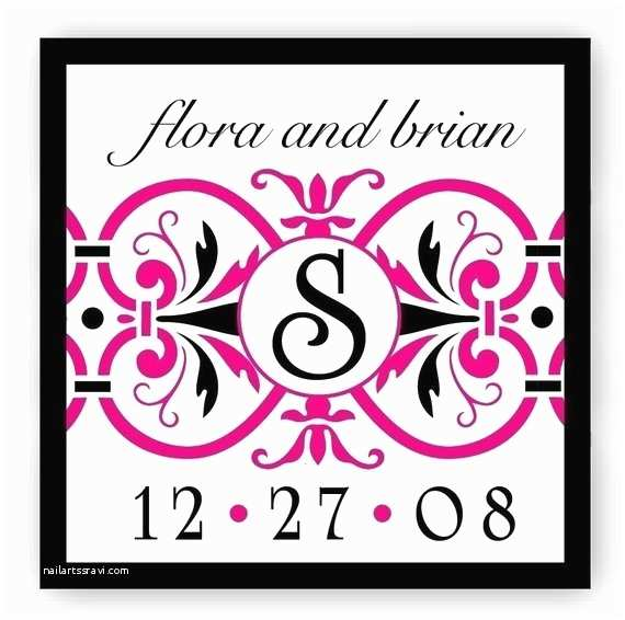 Initial Stickers for Wedding Invitations Hot Pink Custom Wedding Stickers Monogram Wedding Labels