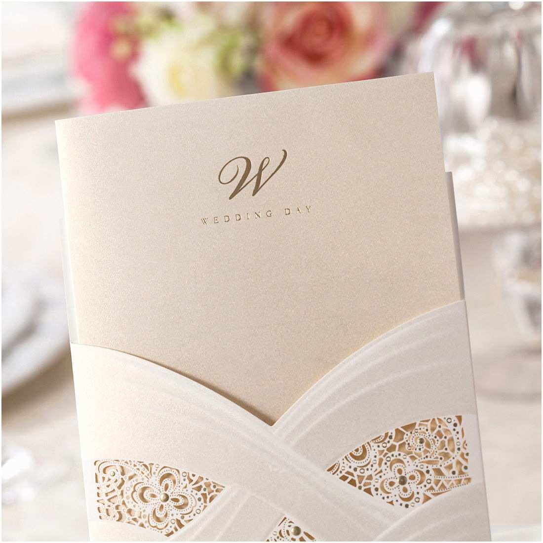 Initial Stickers for Wedding Invitations Pocket Wedding Invitation Card Kit Cw060 with Envelope