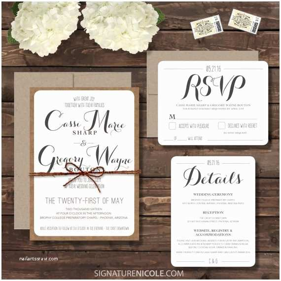 Invisible Ink Wedding Invitations Rustic Wedding Invitation assembled with Rsvp by