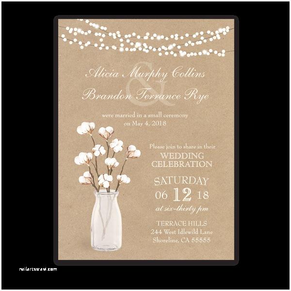 Invitation Only Wedding Rustic Cotton theme Wedding Reception Ly Invitation