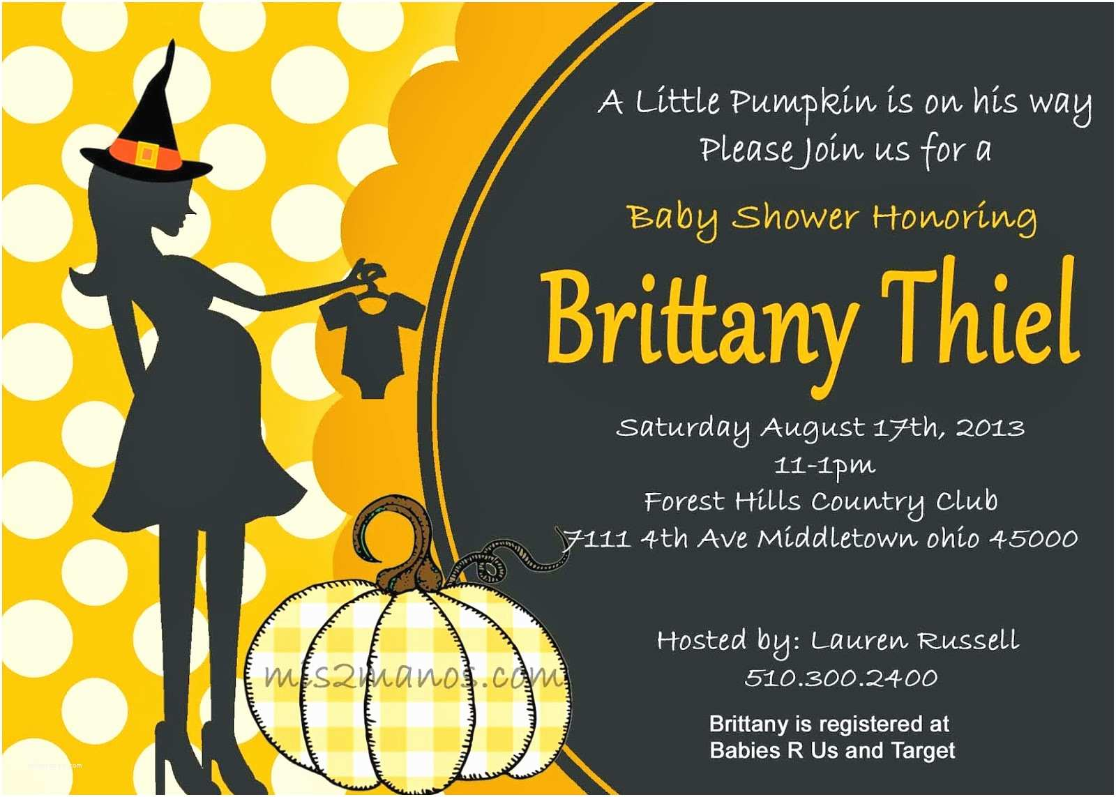 Invitation Wording for Adults Only Party Mis 2 Manos Made by My Hands Halloween Baby Shower