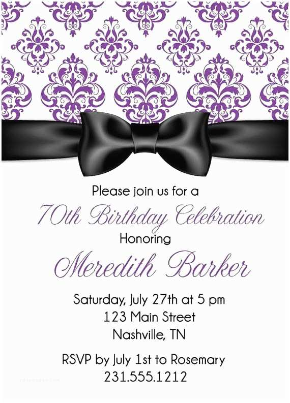 Invitation Wording for Adults Only Party Ribbon Damask Birthday Invitation Adult Birthday Party