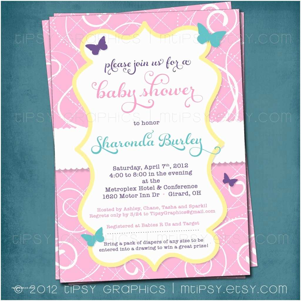 Invitations for Baby Shower butterfly Baby Shower Invitation Image