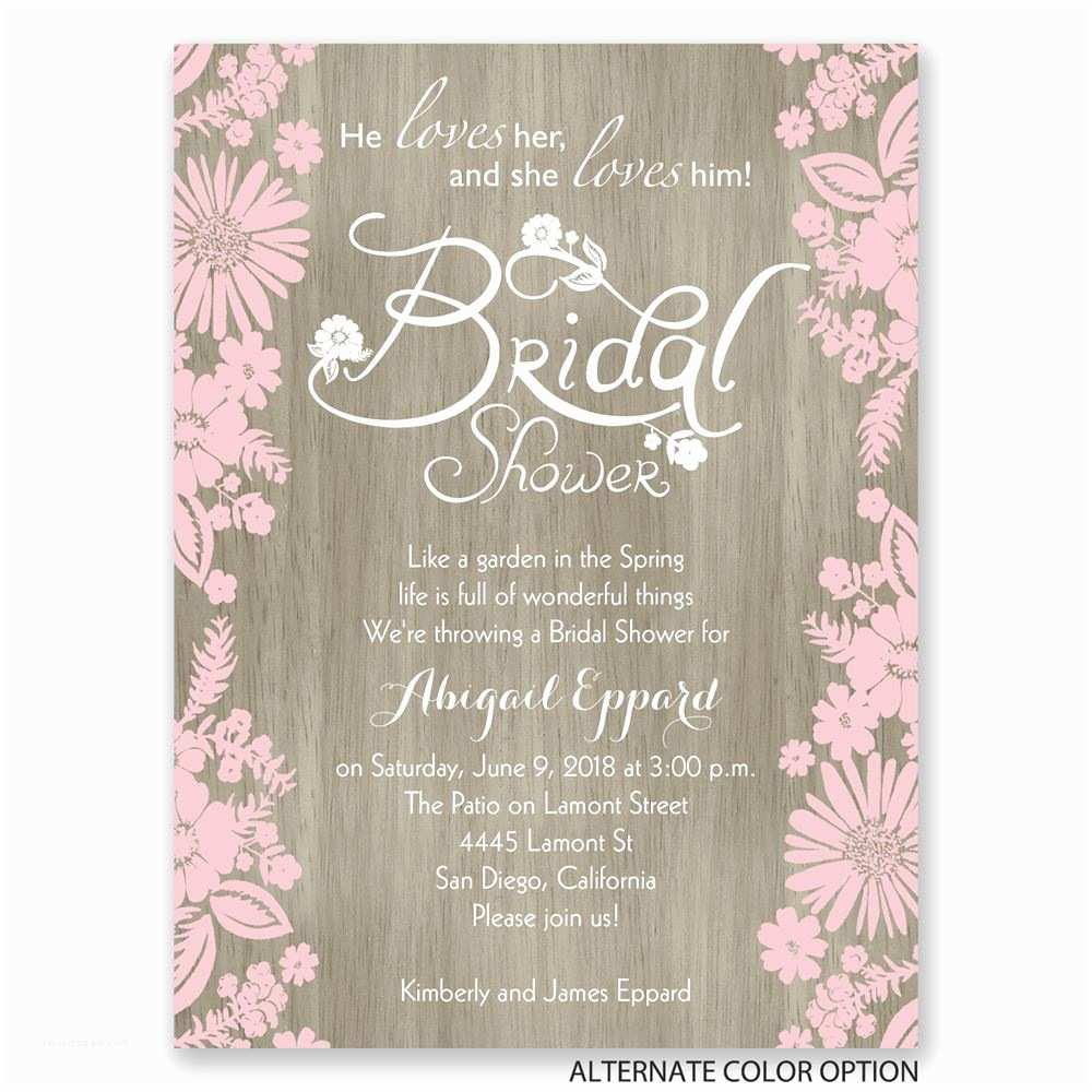 Invitations for Bridal Shower Flowers and Woodgrain Petite Bridal Shower Invitation