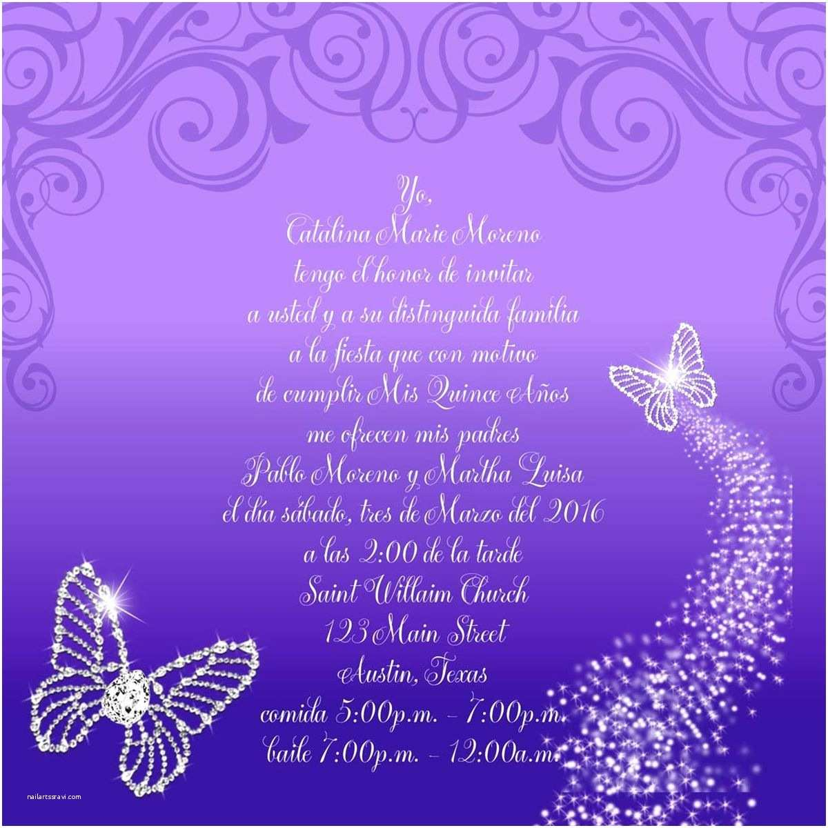 Invitations for Quinceaneras Bling butterflies Quinceanera Invitation