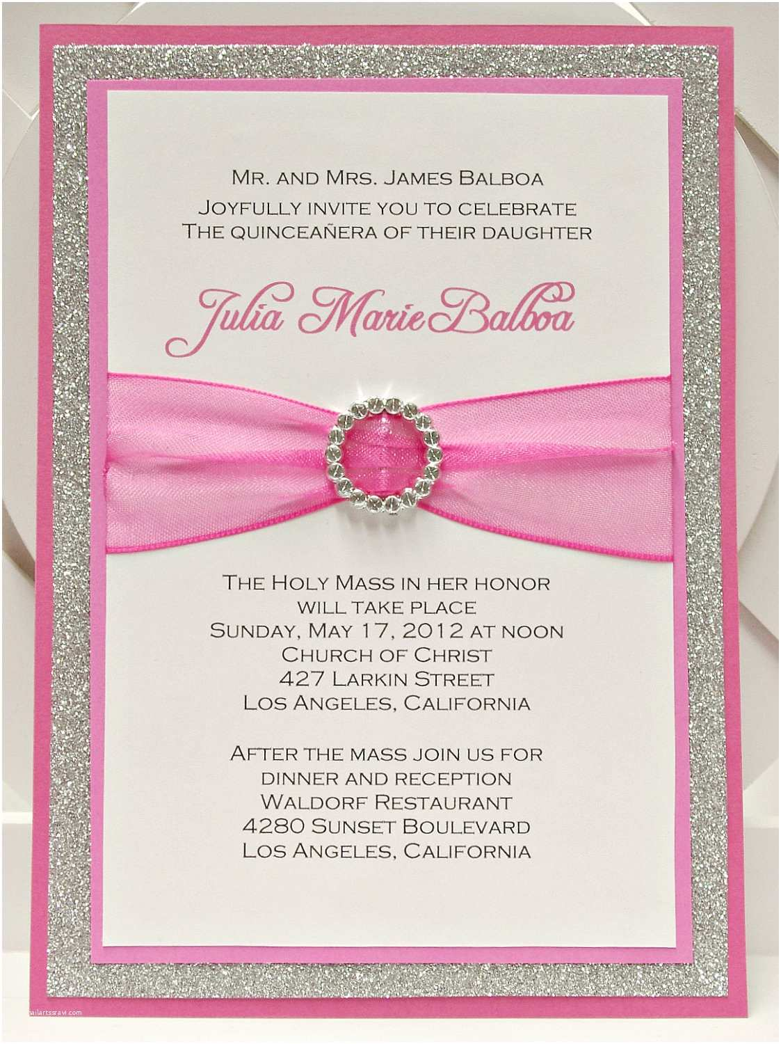 Invitations for Quinceaneras Custom Handmade Pink & Silver Glitter Sweet Sixteen by