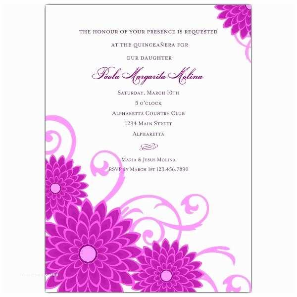 Invitations for Quinceaneras Dahlias Purple Quinceanera Invitations