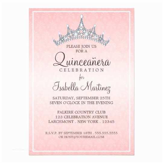 Invitations for Quinceaneras Glam Tiara Quinceanera Celebration Invitation