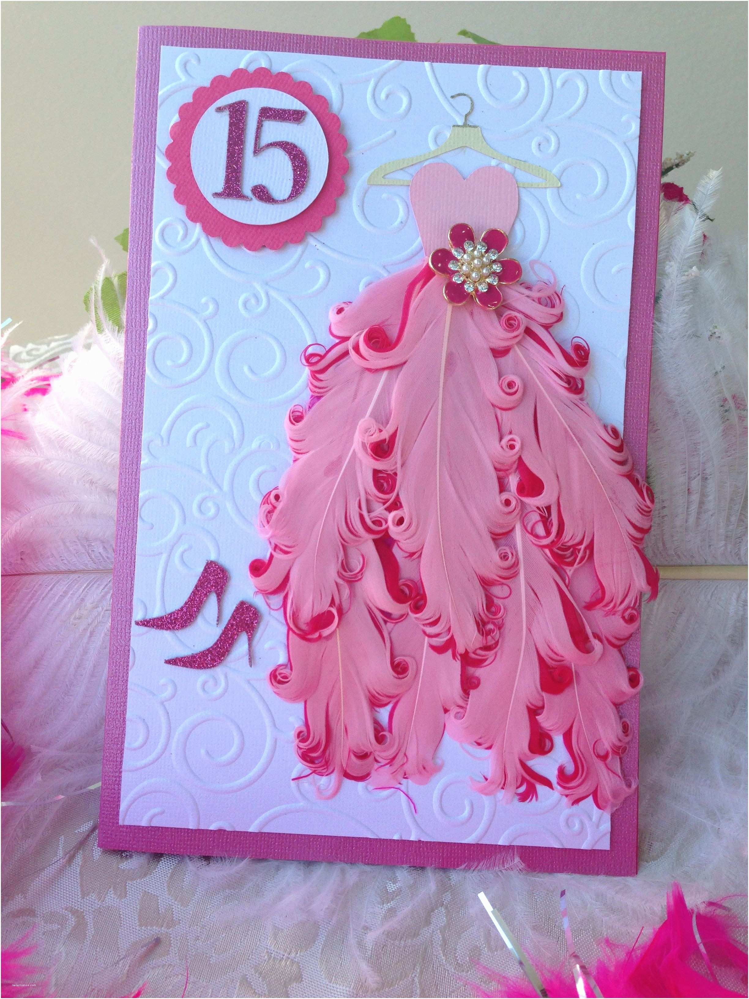 Invitations for Quinceaneras Gorgeous Quinceañera Handmade Invitation with Feathers