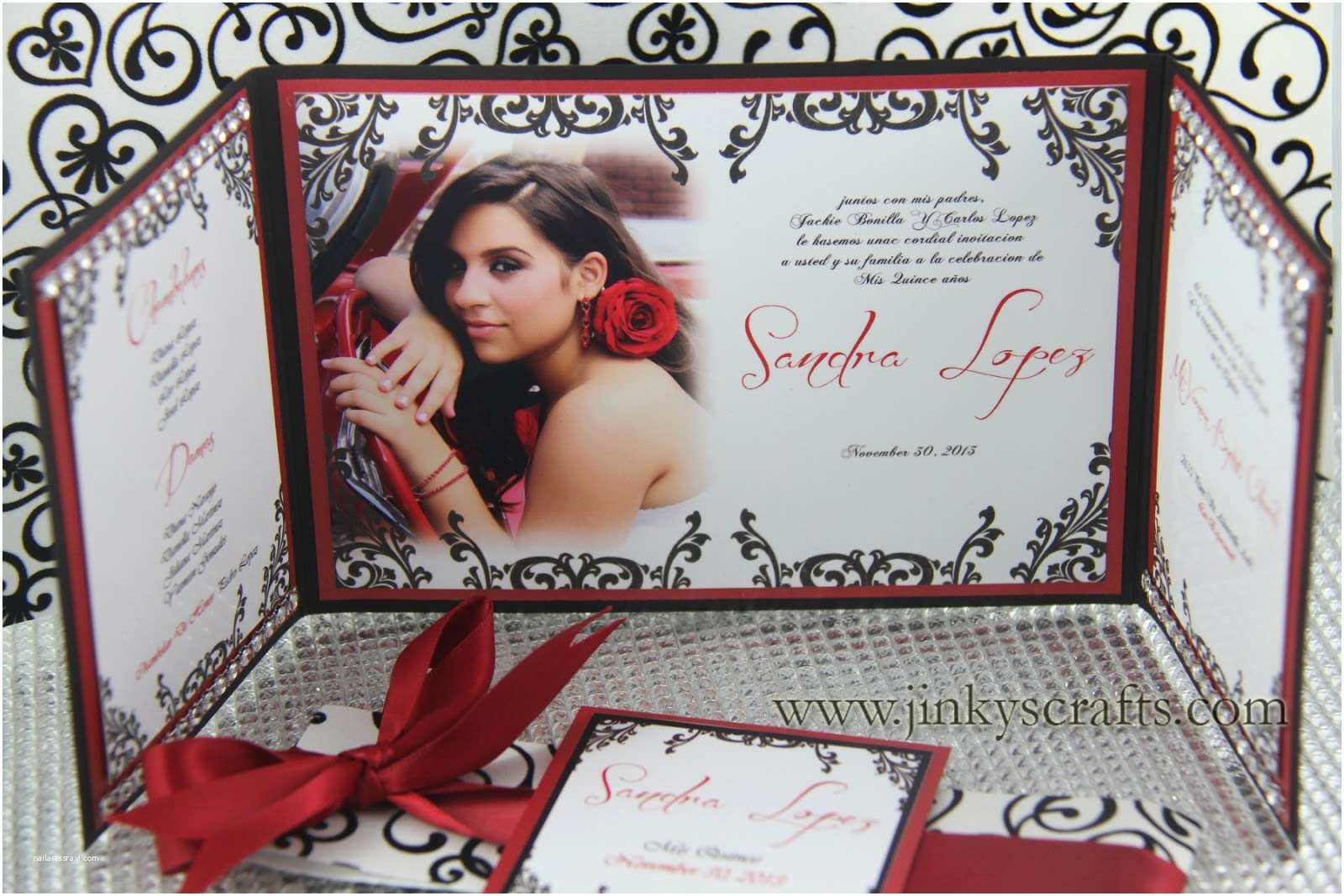 Invitations for Quinceaneras Jinky S Crafts & Designs Gate Fold Custom Invitations