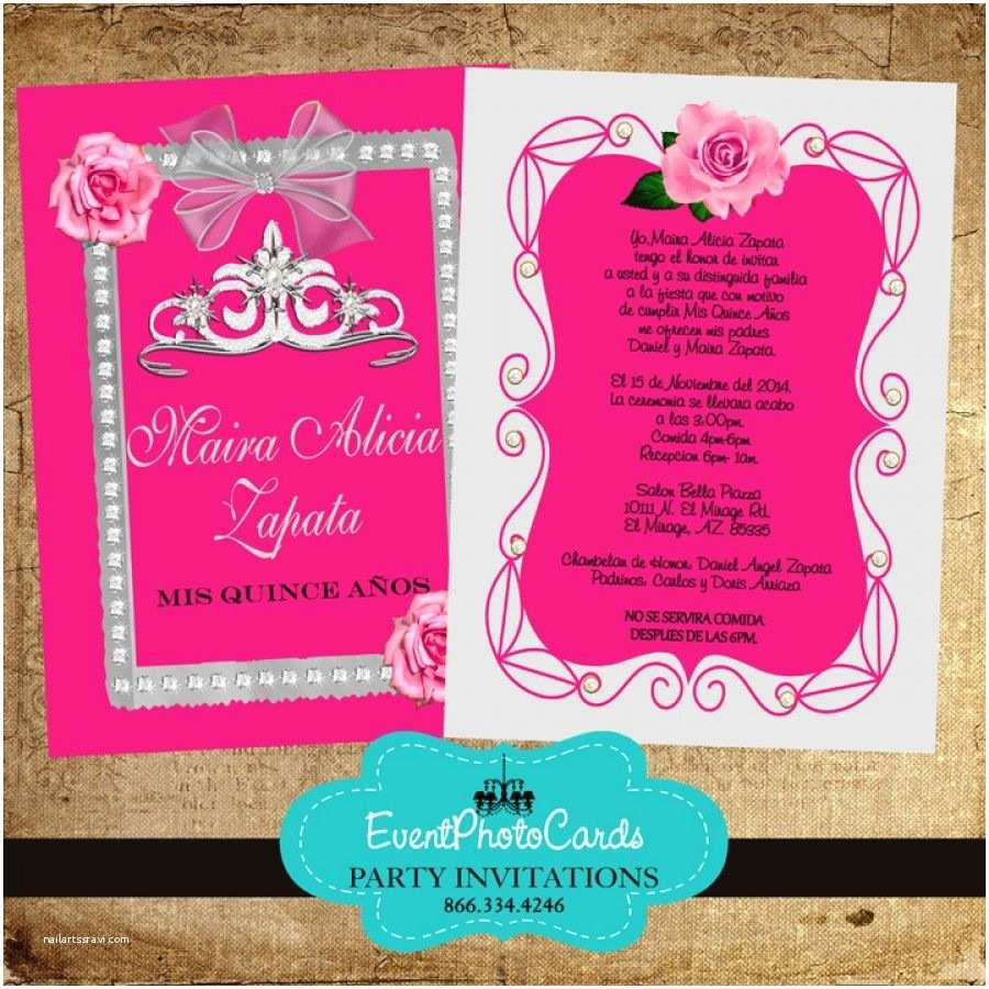 Invitations for Quinceaneras Pink Roses & Silver Quinceanera Invitations with Back
