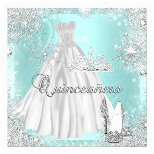 Invitations for Quinceaneras Quinceanera 15th Teal Silver Birthday Party Personalized
