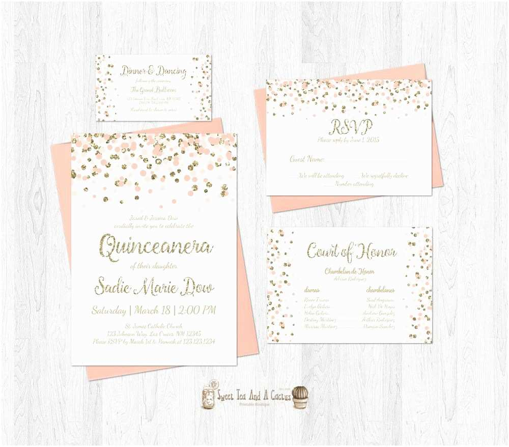 Invitations for Quinceaneras Quinceanera Invitation Set Blush Pink and Gold Glitter