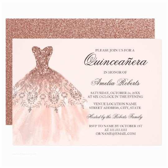 Invitations for Quinceaneras Rose Gold Sparkle Dress Quinceanera Invitation